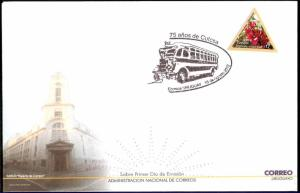 URY-142 URUGUAY 2012 TRANSPORT BUS COVER SPECIAL POSTMARK