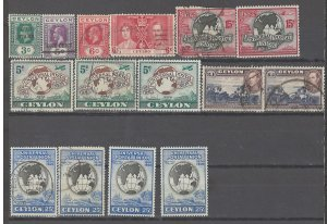 COLLECTION LOT # 2474 CEYLON 14 ALL CONDITIONS STAMPS 1918+ CLEARANCE CV+$18