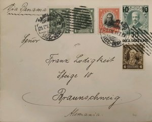 J) 1913 CHILE, COLUMBUS, MULTIPLE STAMPS, CIRCULATED COVER, FROM SANTIAGO TO GER