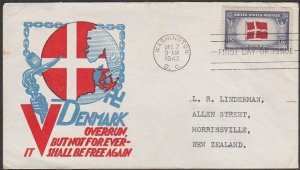 USA 1943 Patriotic FDC to New Zealand - Overrun Nations Denmark.............C267