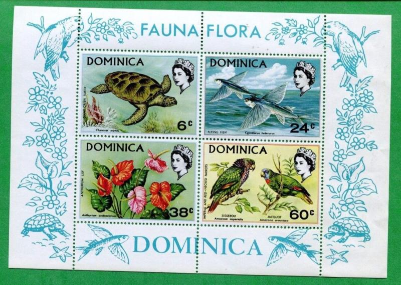 1970 Dominica Postage Stamp Souvenir Sheet #300a Mint VF OG Flora & Fauna Issue