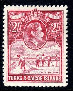 TURKS & CAICOS-,,,1938-45...SG 203- shades   as cheapest  .. 2/-   MM cv £23