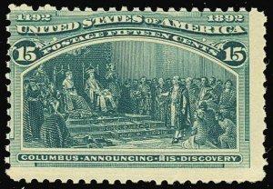 238, 15¢ Columbian - Mint NH - LOW PRICE! Cat $600.00 - Stuart Katz