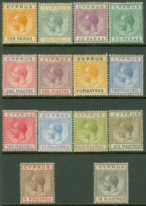 EDW1949SELL : CYPRUS 1921-23 Scott #72-85 Cplt VF MOG LH Fresh & Choice Cat $332