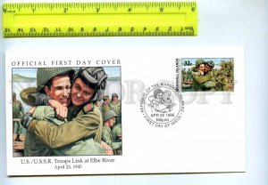 242063 MARSHALL ISLANDS WWII US USSR Troops link at Elbe river 1995 year FDC
