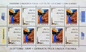 Italia 2009 Congiunta Vaticano San Marino Giornata d. Lingua Italiana MNH** X449