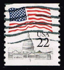 US STAMP #2115 – 1985 22c Flag over Capitol, coil TEST COIL USED STAMP