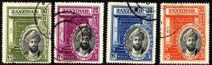 1936 Zanzibar Sg 323/326 Silver Jubilee of Sultan Fine Used