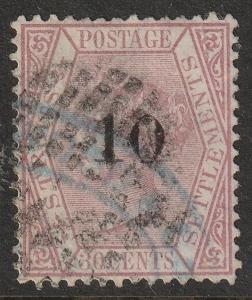 MALAYA Straits Settlements 1880 QV 10c opt 30c used SG#33 MA1221B