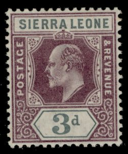 SIERRA LEONE EDVII SG78, 3d dull purple and grey, LH MINT. Cat £17.