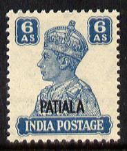 Indian States - Patiala 1941-46 KG6 6a turquoise-green un...