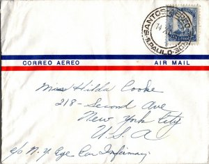 Brazil > NYC USA 1950 Air Mail cover American Republics Line