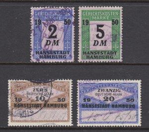 Germany, Hamburg, 1950 Court Fee revenues, 4 different, used, sound, F-VF.