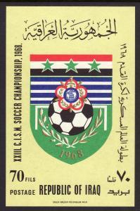 1968 Iraq XXIII C.I.S.M Soccer Champion imperf S/S souvenir sheet MNH Sc# 476a