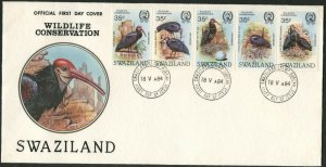 SWAZILAND Sc#448 Strip of 5 1984 Bald Ibis Birds Cpl Set First Day Cover