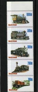Naxcivan Republic 1997 Locomotives Strip (5) Perforated mnh.vf