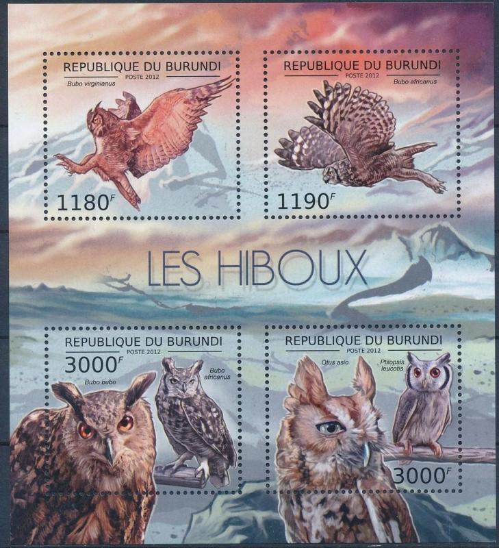 Burundi MNH S/S Owls Birds 2012 4 Stamps