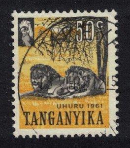Tanganyika Lions 50c canc SG#113