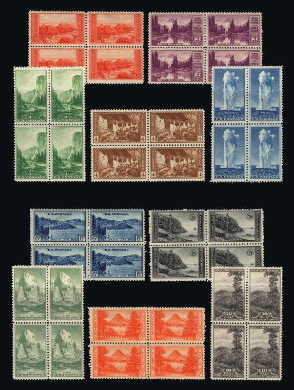 #740-749 1934 Farley Nat'l Parks Mint Blocks of 4 VF