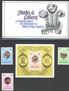 Turks & Caicos Islands Sc# 486-490 MNH 1981 Royal Wedding