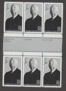 U.S. Scott #3226 Alfred Hitchcock Stamps - Mint NH Gutter Block of 6