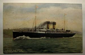 Vintage 1908 L and N W S S Scotia Holyhead and Dublin Picture Postcard Cover