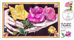 COLLINS HAND PAINTED FDC Sc# 2492 Rose 1995 First Day Issue Cover