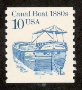 2257 Canal Boat Single W/Plate Number (1) Mint/nh Free Shipping)