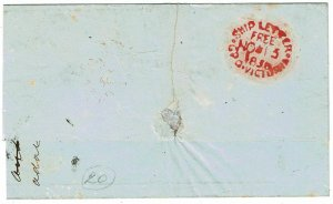 1859 GPO Victoria Ship Letter Free cancel in red on cover to England