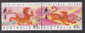 Christmas Island # 411a, New Year - Year of the Tiger, NH, 1/2 Cat.