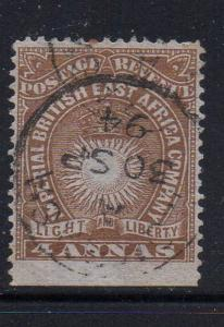 British East Africa Sc 19 1890 4 annas Sun & Crown stamp used