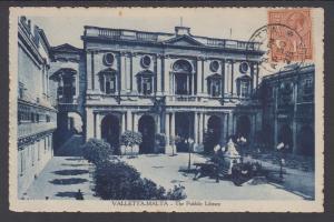 Malta Sc 134 on 1928 PPC to France, The Public Library in Valletta