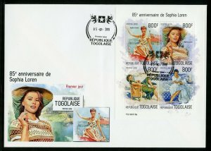 TOGO 2019  85th ANNIVERSARY OF SOPHIA LOREN SHEET FIRST DAY COVER
