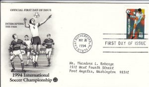 1994, Int'l Soccer Championship-Intercepting the Pass, PCS, FDC (D15493)