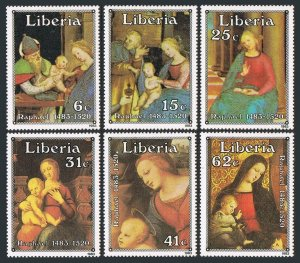 Liberia 975-980,981,MNH.Mi 1281-1286,Bl.105. Christmas 1983.Raphael paintings.