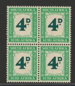 South Africa 1958 Postage Due 4p Scott # J43 MNH Block of 4