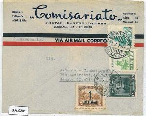 POSTAL HISTORY : COLOMBIA - OVERPRINTED Stamps on AIRMAIL COVER to ITALY 1947
