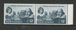Montserrat 1964 Shakespeare, scratch under H, UM/MNH in pair with normal
