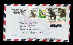 2 owl stamps to Czech Republic, 1994  (4919)