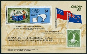 Samoa 533,MNH.Michel 435 Bl.22. ZEAPEX-1980,Flags.Symbolic bird.