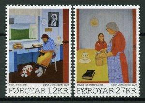 Faroe Islands Faroes Art Stamps 2020 MNH Sigrun Gunnnarsdottir Paintings 2v Set