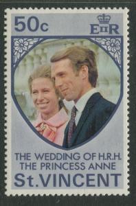 St Vincent - Scott 358 -Wedding Princess Anne -1973 - MLH - Single 50c Stamp