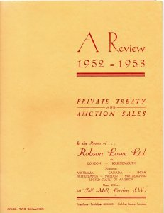 1952-1953 Robson Lowe Private Treaty & Auction Sales Review