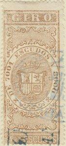 DEPENDENCIAS ESPAÑOLAS - 1868 Sello Fiscal (GIRO) 4 Escudos - usado