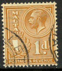 MALTA 1930 KGV 1d Yellow Brown POSTAGE & REVENUE Issue Sc 169 VFU