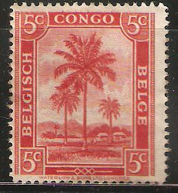 Belgian Congo 5 cents. Unused. Dwellings and palm trees
