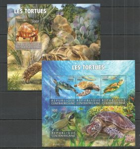 CA212 2015 CENTRAL AFRICA FAUNA REPTILES TURTLES TORTUES KB+BL MNH KB+BL MNH