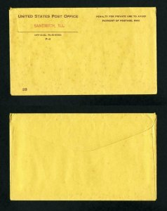 Official Cover from United States Post Office, Sandwich, Illinois