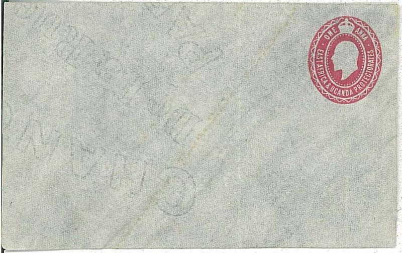 East Africa & Uganda Protectorate -  POSTAL STATIONERY COVER - 1 ANNA