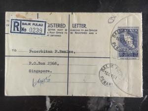 1961 Balik Pulau Penang Malaya PS Registered Cover To Singapore